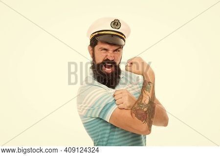 Strong Muscles. Sailor Spirit. Bearded Sailor Isolated On White. Sailor Or Seaman With Long Beard An