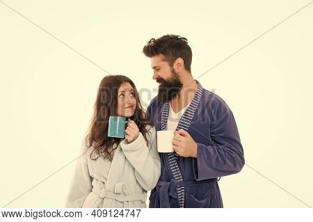 Brewing Specialty Coffee Easy. Couple In Domestic Clothes Enjoy Morning Coffee. Man And Woman Bathro
