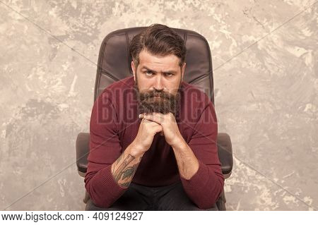 Hard Times. Making Decision. Serious Confident Businessman. Businessman Sit Chair. Bearded Businessm