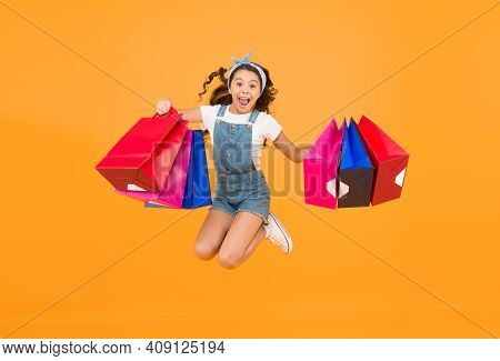 Hurry Up Its Total Sale. Kids Fashion. Sales And Discounts. Happy Small Girl After Successful Shoppi