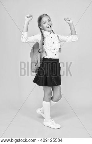 School Club. Private Schooling. Teen With Backpack. Cute Smiling Schoolgirl. Girl Little Schoolgirl