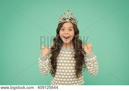 Happiness And Success. Lady Small Baby Princess. Number One. Kid Wear Golden Crown Symbol Of Princes