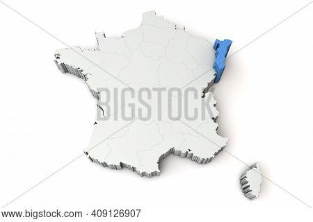 Map Of France Showing Alsace Region. 3d Rendering