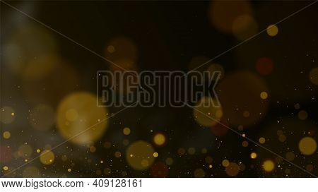 Glitter Vintage Lights Background. Dark Gold And Black. Defocused. Golden Lights Background. Vector