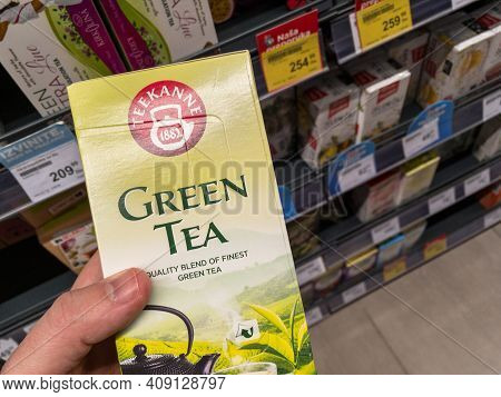 Belgrade, Serbia - February 17, 2021: Teekanne Logo On One Of Their Boxes Of Teabags Of Green Tea Fo