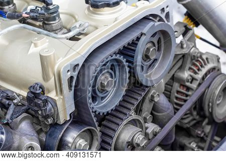 Timing Belt And Twin Camshaft Sprocket In Engine Racing Car.