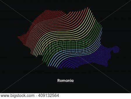 Dynamic Line Wave Lgbt Map Of Romania. Twist Lines Lgbt Map Of Romania. Political Map Romania