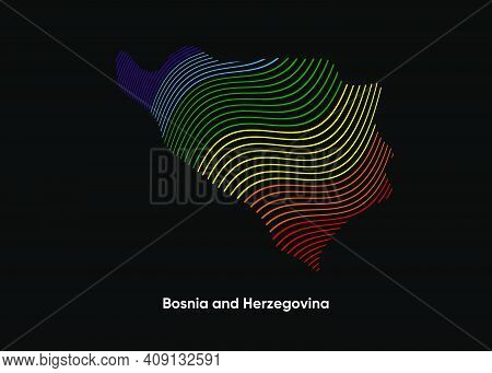 Dynamic Line Wave Lgbt Map Of Bosnia And Herzegovina. Twist Lines Lgbt Map Of Bosnia And Herzegovina