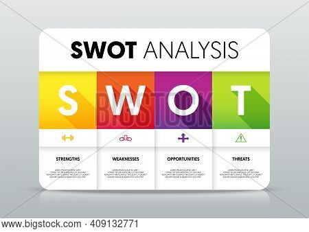 Swot Analysis Infographic Template Design Data Visualization For Marketing And Business Strategy Mod