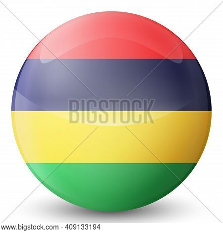 Glass Light Ball With Flag Of Mauritius. Round Sphere, Template Icon. Mauritian National Symbol. Glo
