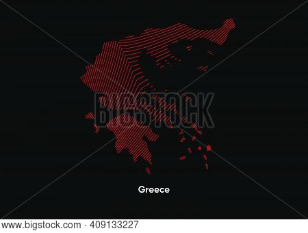 Dynamic Line Wave Map Of Greece. Twist Lines Map Of Greece. Greece Political Map