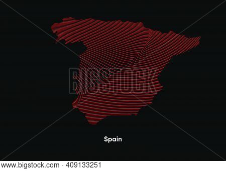 Dynamic Line Wave Map Of Spain. Twist Lines Map Of Spain. Spain Political Map