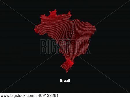 Dynamic Line Wave Map Of Brazil. Twist Lines Map Of Brazil. Brazil Political Map