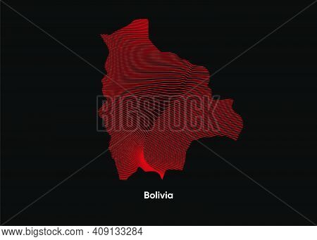 Dynamic Line Wave Map Of Bolivia. Twist Lines Map Of Bolivia. Bolivia Political Map