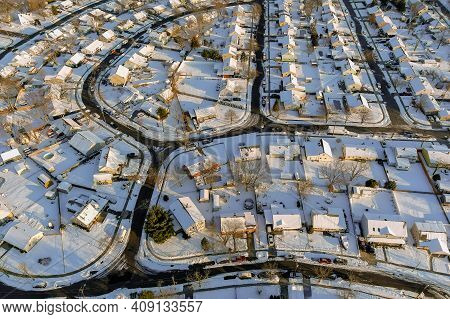 Wonderful Winter Scenery Roof Houses Snowy Trees Covered On The Aerial View With Residential Small T
