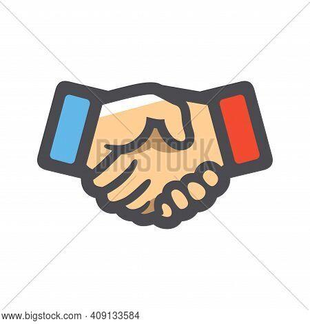 Handshake Two Hands Handclasp Vector Icon Cartoon Illustration.