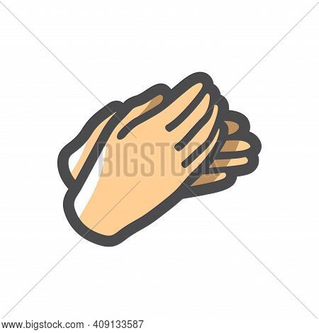 Applause Clapping Hands Vector Icon Cartoon Illustration.