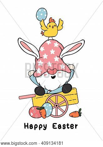 Cute Easter Gnome Bunny Ears Cartoon And Yellow Chick Baby On Wooden Cart With Easter Eggs. Happy Ea