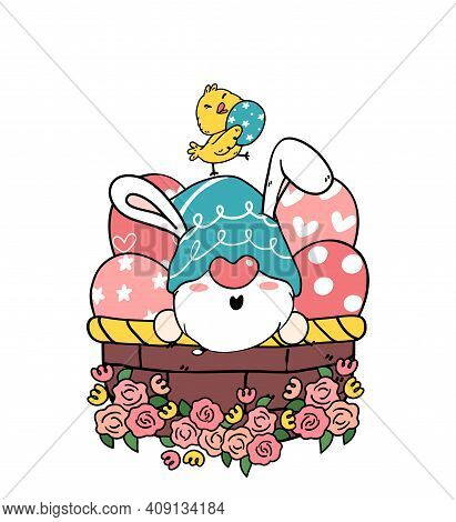 Cute Easter Gnome Bunny Ears Cartoon And Yellow Chick Baby In Easter Egg Basket. Happy Easter, Cute