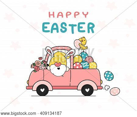 Cute Bunny Gnome Cartoon And Yellow Chick Baby In Pink Truck Car With Easter Eggs. Happy Easter, Cut