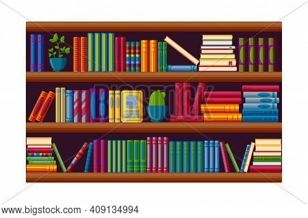 Bookcase For Home Library. Books And Plants On The Shelves In Cartoon Style. Vector Illustration Iso