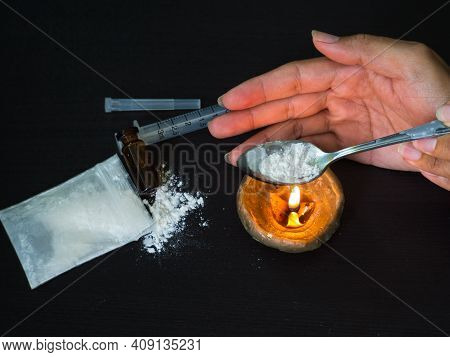 Substance Abuse With Ketamine, Candle, Syringe.  Addictive Substance, Narcotic, Habit-forming Substa