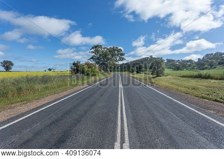 Typical Country Road In Central New South Wales Australia Located Between Cowra And Canowindra. This