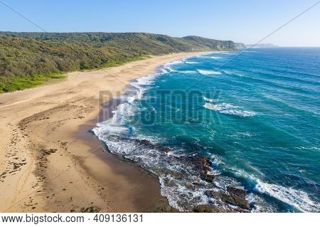 Aerial View Of Dudley Beach In Newcastle Nsw Australia. Newcastle Is A Major Regional City With Many