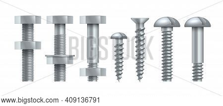 Realistic Steel Self-tapping. Metal Bolts With Tightened Nuts. Stainless Threaded Nails With Polygon