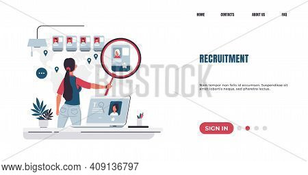 Recruitment Landing Page. Employee Searching And Hiring Concept. Hr Manager Examines Resume Of Candi