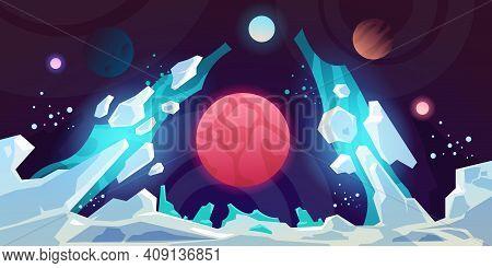 Planet Landscape. Alien Futuristic Science Fiction Cartoon Backdrop, Game Fiction Scene With Strange