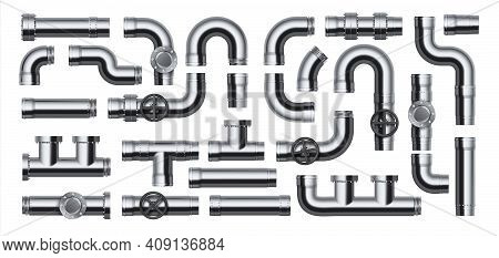 Realistic Pipes. Water Tube Pipelines With Valves, Joints And Connections, Plumbing Factory Steel Gl