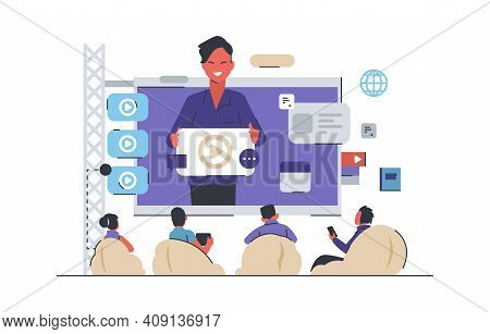 Video Conference. Webinar Or Business Meeting Concept. Online Education, Studying And Teaching Using