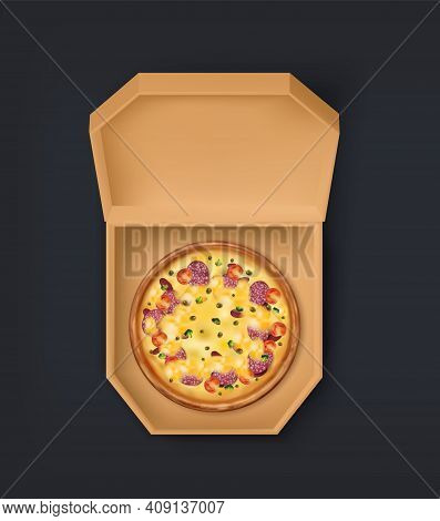 Package With Pizza. 3d Cardboard Box With Traditional Italian Meal With Cheese, Salami And Vegetable
