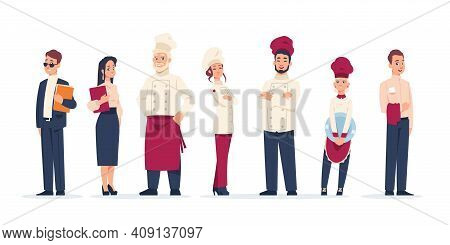 Restaurant Workers. Standing In Row People Work In Cafe. Cartoon Waiter And Chief, Administrator And