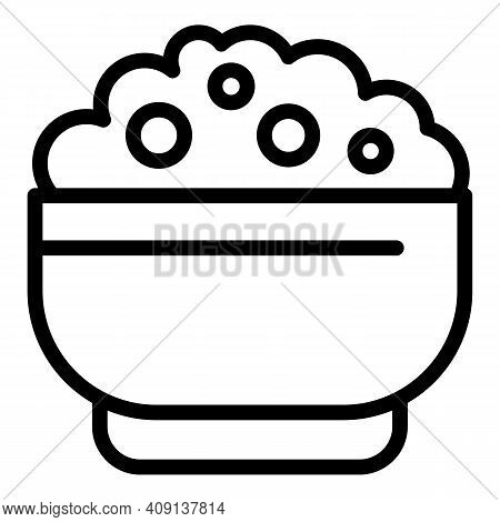 Tasty Mashed Potatoes Icon. Outline Tasty Mashed Potatoes Vector Icon For Web Design Isolated On Whi