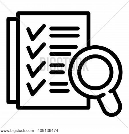 Magnifying Checklist Icon. Outline Magnifying Checklist Vector Icon For Web Design Isolated On White