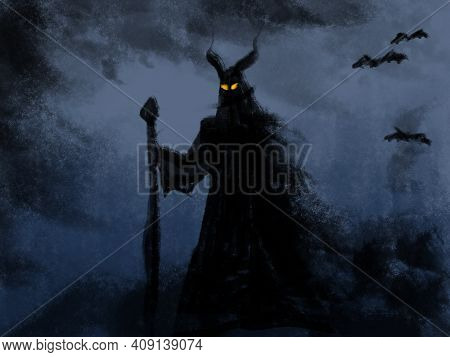 Illustration Of A Demonic Creature With A Staff In Hand And Piercing Eyes On Its Face. Frightening M