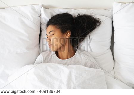 Healthy Peaceful Girl Sleeping Well In Comfortable Cozy Fresh Bed On Soft Pillow White Linen Orthope