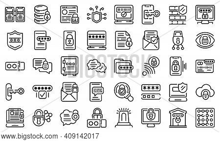 Password Protection Icons Set. Outline Set Of Password Protection Vector Icons For Web Design Isolat