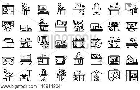 Ergonomic Workplace Icons Set. Outline Set Of Ergonomic Workplace Vector Icons For Web Design Isolat