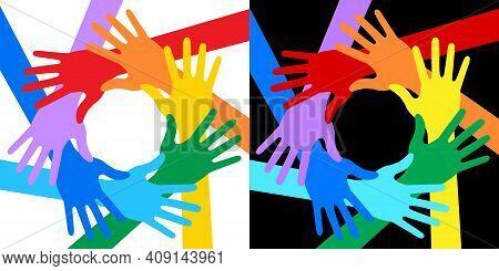 Hands Icon Set. Rainbow Colors. Volunteer Logo. United Emblem. Solidarity Insignia. Vector Illustrat