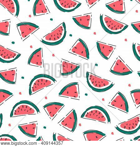 Seamless Pattern With Watermelon Slices. Watermelon Abstract Background. Vector.