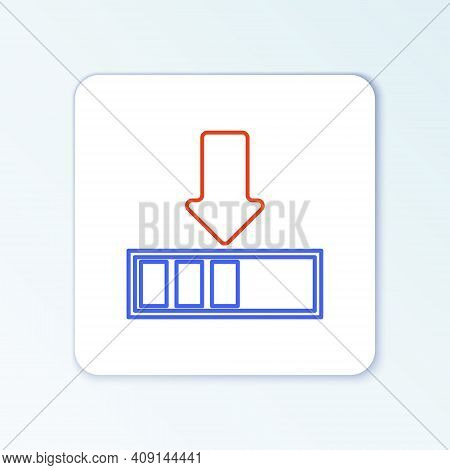 Line Loading Icon Isolated On White Background. Download In Progress. Progress Bar Icon. Colorful Ou