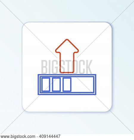 Line Loading Icon Isolated On White Background. Upload In Progress. Progress Bar Icon. Colorful Outl
