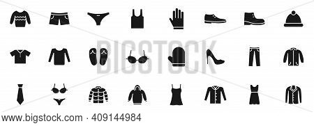 Clothes Silhouette Vector Icons Isolated On White. Clothes Icon Set For Web, Mobile Apps, Ui Design