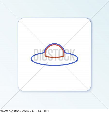 Line Ufo Flying Spaceship Icon Isolated On White Background. Flying Saucer. Alien Space Ship. Futuri
