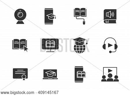 E Learning Silhouette Vector Icons Isolated On White. E Learning Icon Set For Web, Mobile Apps, Ui D