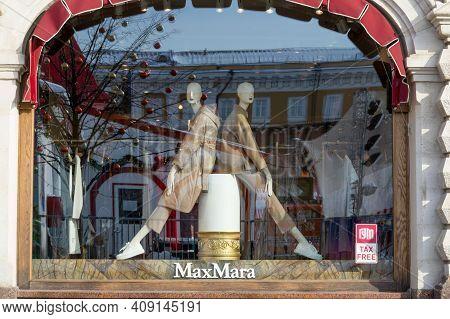 Moscow, Russia - February 20, 2022: Max Mara Store At Moscow. Max Mara Is An Italian Fashion Busines