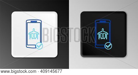 Line Flight Mode In The Mobile Phone Icon Isolated On Grey Background. Airplane Or Aeroplane Flight